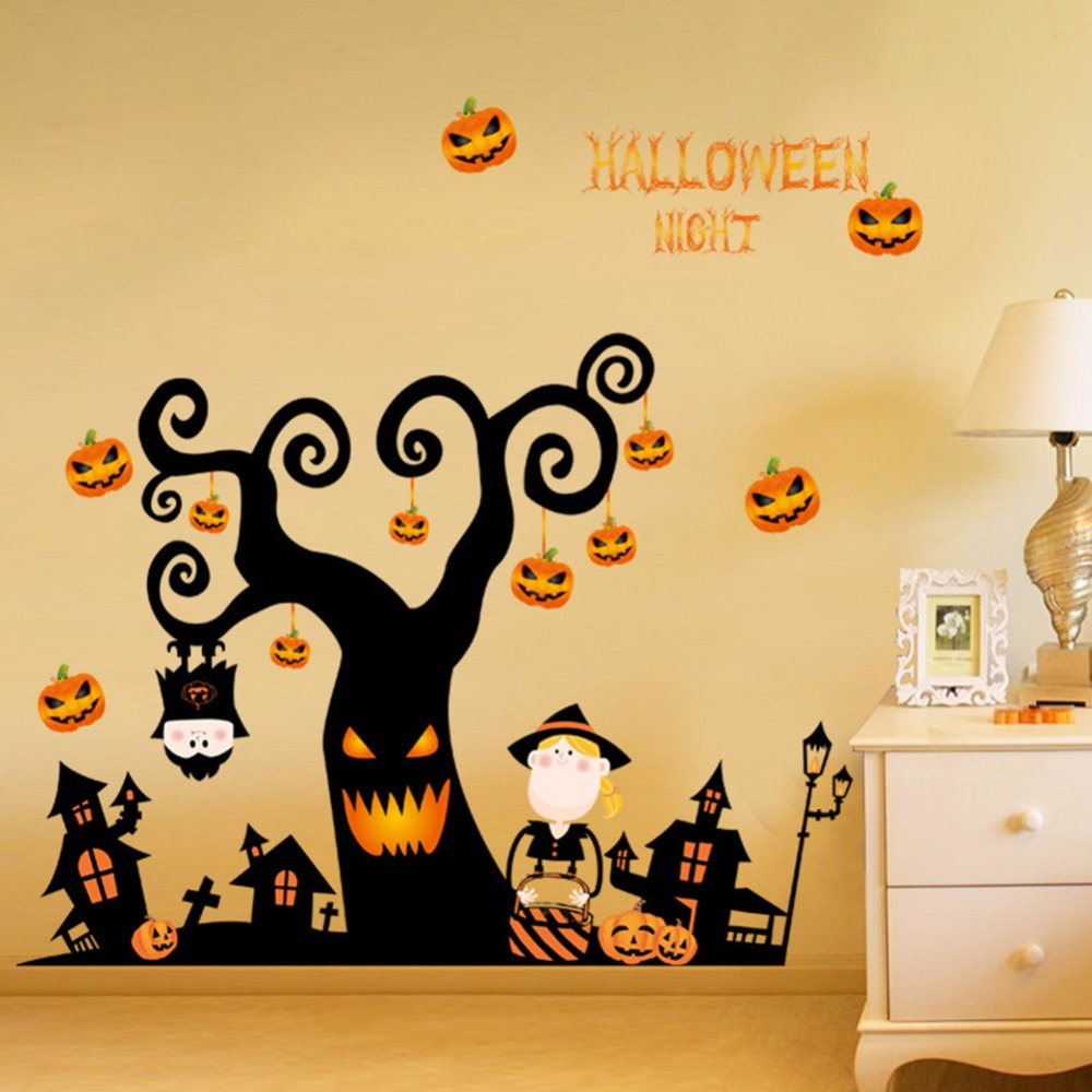 Halloween night pumpkin lantern castle party art wall sticker ...