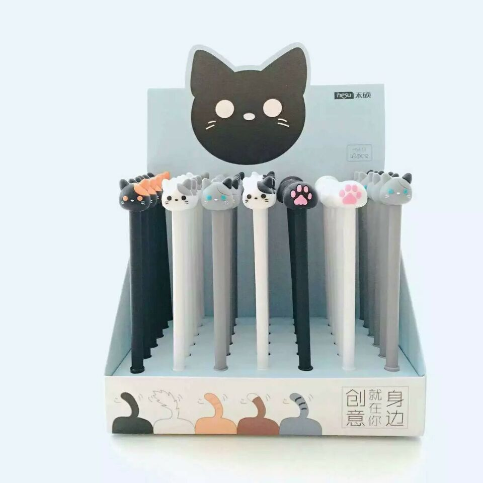 48 pcs Gel Pens Cartoon Tea rice cats black colored kawaii gift gel-ink pens for writing Cute stationery office school supplies 10pcs lot new cute colorful cartoon gel pen set kawaii korean stationery creative gift school supplies colored gel pens
