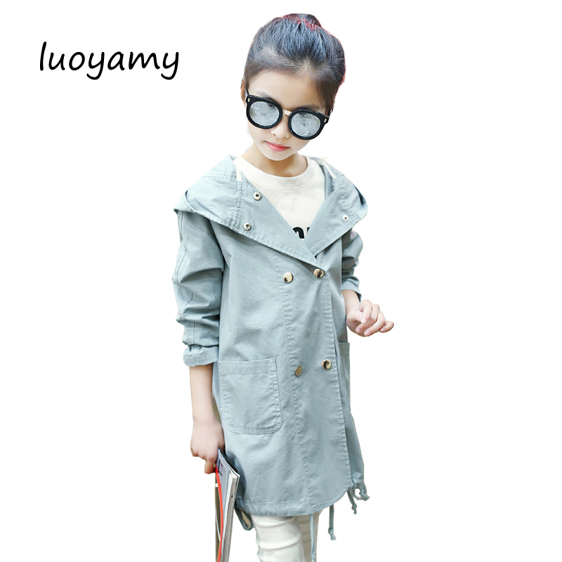 luoyamy 2017 Girls Hooded Printed Coat Clothes Kids Outerwear Children's Spring Autumn Windbreakers Infantil Button Jacket
