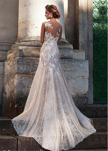 Image 2 - Fabulous Tulle Bateau Neckline Sheath Nude Wedding Dresses With Color Lace Appliques Illusion Back Sexy Bridal Dress