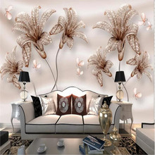 Custom wallpaper 3D embossed jewelry flower lily TV background wall high-grade waterproof material