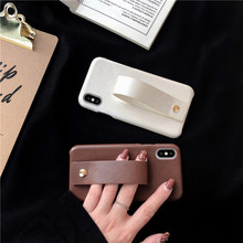 Wrist Strap PU Leather Case for iPhone X XR XS Max hard phone case 6 6s 7 8 plus cover