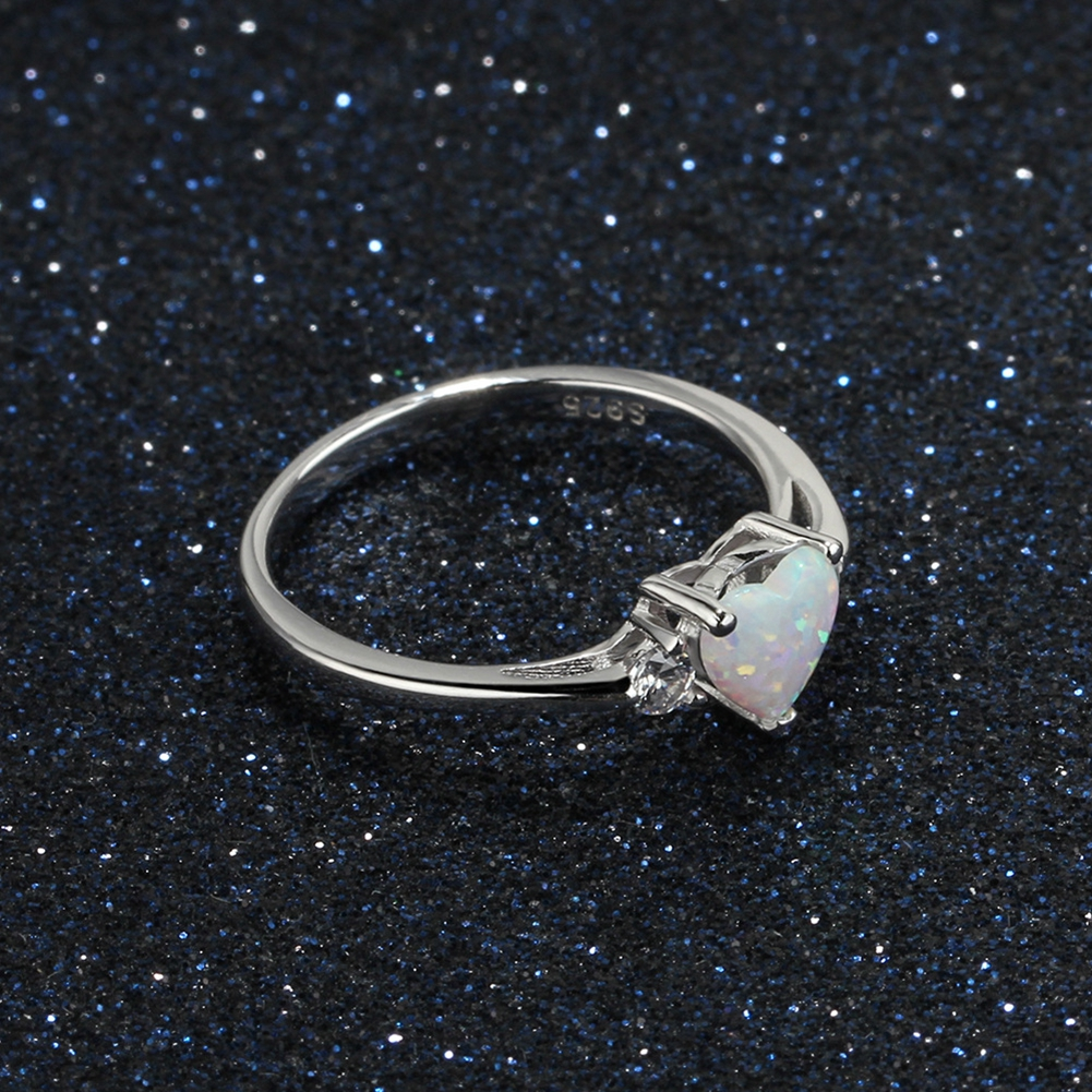 Sterling Silver 925 Love Heart ring with clear CZ Elegant Silver Band R22