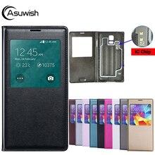Housse de protection En Cuir coque de téléphone Smart View Pour Samsung Galaxy S5 SV S 5 G900A G900I G900F G900 G900H G900FD SM G900F SM G900H Cas