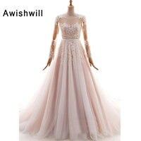 Новое поступление 2019 свадебное платье принцессы для невесты бисером кружева тюль одежда с длинным рукавом свадебные платья Для женщин трап