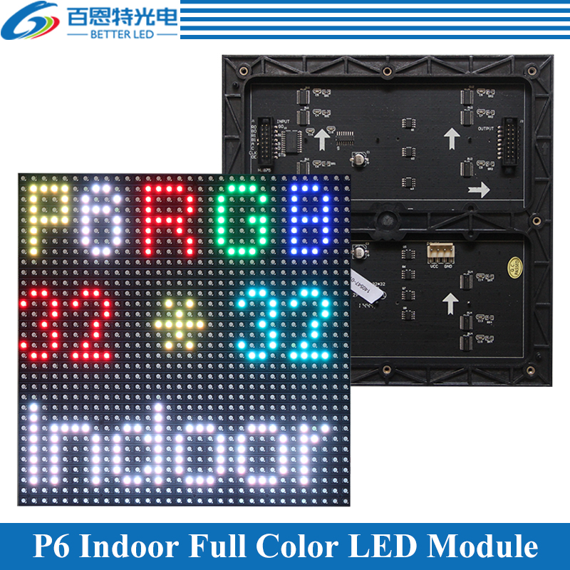 P6 LED Screen Panel Module 192*192mm 32*32 Pixels 1/16 Scan 3in1 SMD RGB Indoor P6 Full Color LED Display Panel Module
