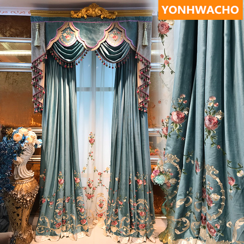Huayin Velvet Linen Curtains Tulle Window Curtain For: Custom Curtains Luxury Thick Velvet Embroidered Green