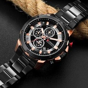Image 4 - العلامة التجارية الفاخرة للرجال CURREN موضة جديدة ساعات رياضية غير رسمية رجالي كوارتز سوار فولاذي غير قابل للصدأ ساعة اليد الذكور Reloj Hombres