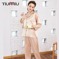 Elegant Women Pajama Sets Champagne High Quality Ladies V neck Sleepwear Home Nightclothes Female Sleep Wear Night Shirt+Pants