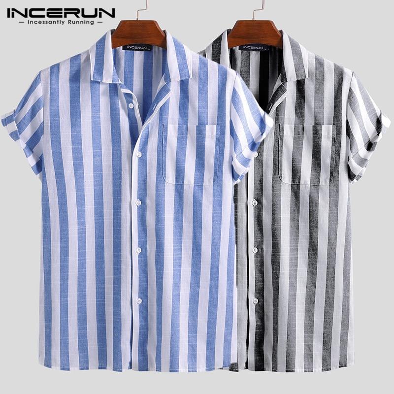 INCERUN Striped Casual Shirt Men Short Sleeve Button Up 2020 Summer Leisure Fashion Brand Shirts Men Camisa Masculina Streetwear