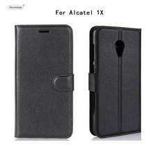 HUDOSSEN Case For Alcatel 1X 5059 Cases Wallet PU Leather Protective Back Cover Silicone Phone Case For Alcatel 1X 5059D Coque смартфон alcatel 1x 5059d black