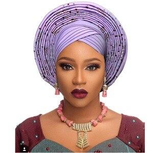 Image 5 - Geleneksel afrika başkanı sarar afrika şapka headtie kadın nijeryalı gele türban bandı zaten yapılmış aso oke gele headtie