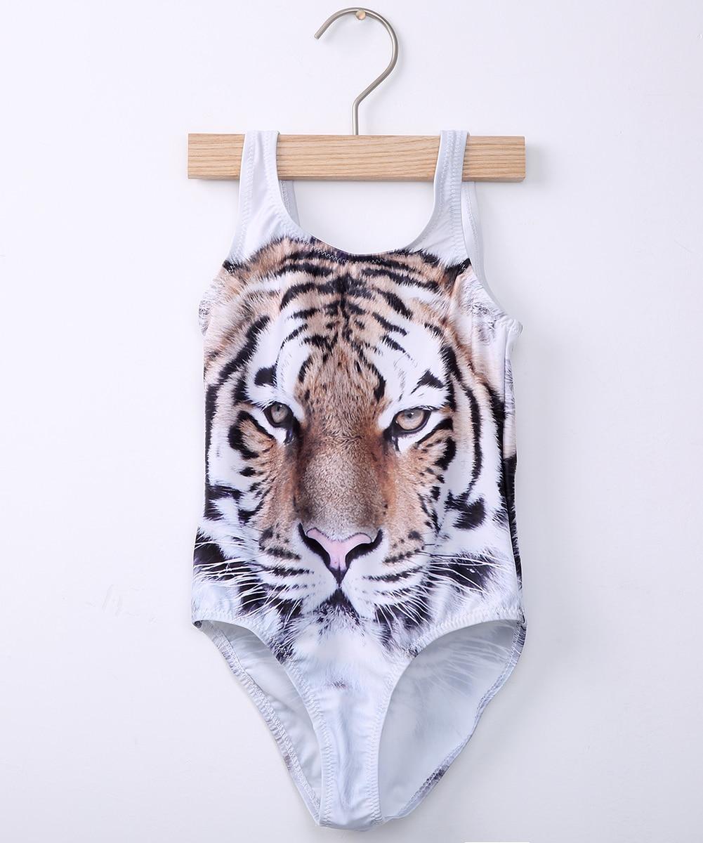 Tijgerprint Badpak.Peuter Kids Meisje Een Stuk Bikini Swimwear Badpak Beachwear 3d