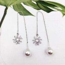Купить с кэшбэком New Fashion 925 Sterling Silver Windmill Long Tassel Earrings Luxury Zircon Simulated Pearl Drop Earrings Jewellery Gift