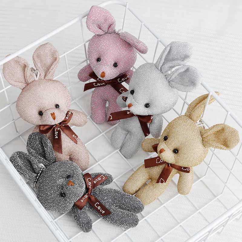 Key Ring Key Holder Porte Cl Pendant Bag Accessary Mobile Rattles Stuffed Animal Rabbit Fur Plush Toy Party Trinket Car Ornament