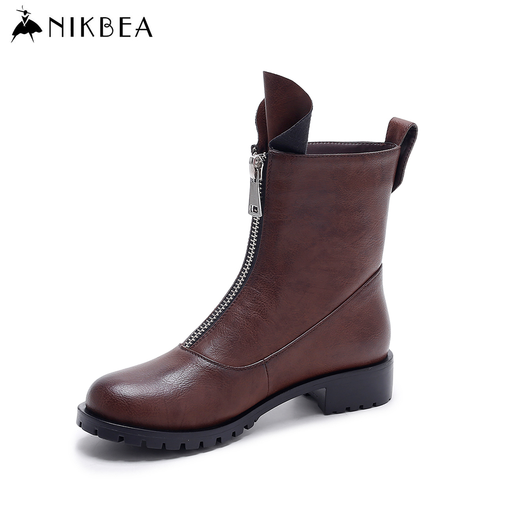 Nikbea Vintage Flat Ankle Boots Motorcycle Boots Women's Winter Shoes 2016 Autumn Handmade Ladies Pu Leather Boots Botas Mujer nikbea brown ankle boots for women vintage flat boots 2016 winter boots handmade autumn shoes pu botas feminina outono inverno