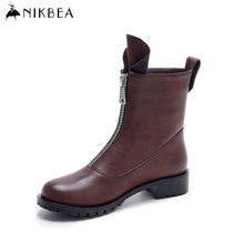 Nikbea Vintage Flat Ankle Boots Motorcycle Boots Women's Winter Shoes 2016 Autumn Handmade Ladies Pu Leather Boots Botas Mujer