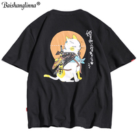 Baishanglinna 2019 Men T Shirt Hip Hop Samurai Cat T Shirt Harajuku Japanese Tshirt Streetwear Summer Cotton Tops Short Sleeve
