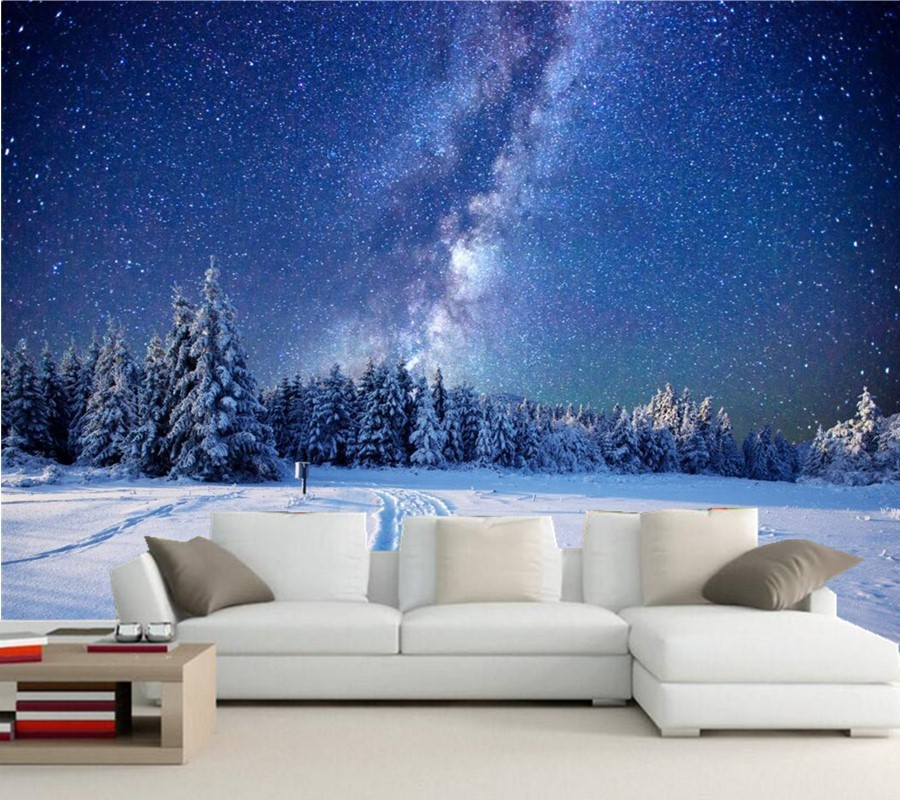 Custom 3d mural,Winter Forests Sky Stars Snow Fir Night Nature wallpapers,living room TV sofa background bedroom papel de parede custom 3d murals forests trees rays of light tree nature photo wall living room sofa tv wall bedroom restaurant wallpapers