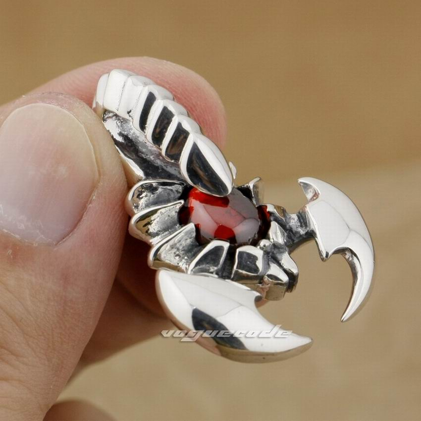 925 Sterling Silver Enorme Scorpion Red CZ Pietra Mens Biker Ciondolo 9J004925 Sterling Silver Enorme Scorpion Red CZ Pietra Mens Biker Ciondolo 9J004