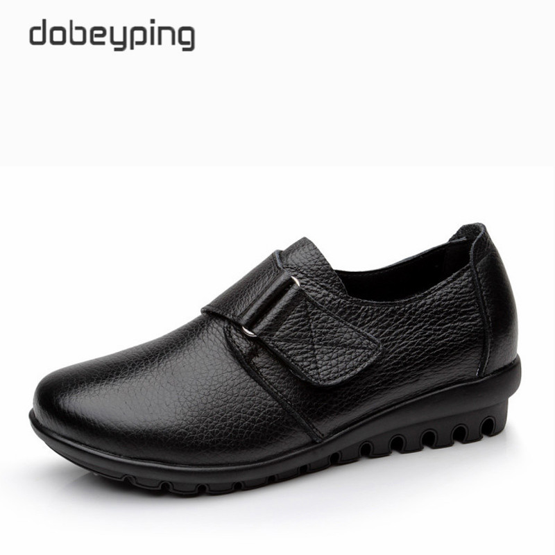 New Arrival Flats Shoes Woman High Quality Genuine Leather Women's Casual Shoes Buckle Mother Walking Footwear Plus Size 35-43 male casual shoes soft footwear classic men working shoes flats good quality outdoor walking shoes aa20135