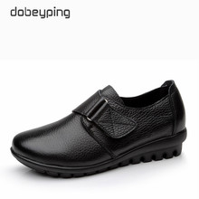 New Arrival Flats Shoes Woman High Quality Genuine Leather Womens Casual Shoes Buckle Mother Walking Footwear Plus Size 35 43