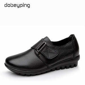 Image 1 - New Arrival Flats Shoes Woman High Quality Genuine Leather Womens Casual Shoes Buckle Mother Walking Footwear Plus Size 35 43