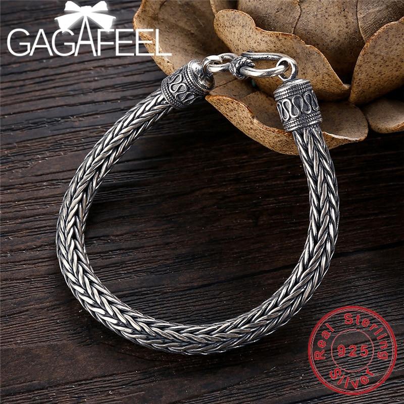 GAGAFEEL Genuine 100% Real Pure 925 Sterling Silver Men bracelets Hemp Rope Vintage Handmade Thai Silver Men jewelries Fine Gift