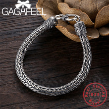 Gagafeel genuine 100% real puro 925 prata esterlina homens pulseiras corda de cânhamo do vintage feito à mão thai prata jóias presente fino
