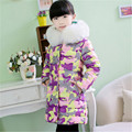2016 Brand Girls Winter down  Long Model Print Flower  thick duck Down Jacket Kids Winter Keep Warm Coat Hot Sale