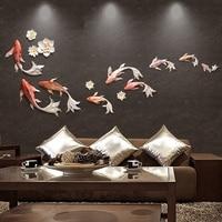 DIY 12 шт. стены стерео мюоны Спальня стикеры стены диван фоне стены украшения дома цветок и золотая рыбка стены