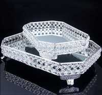Hotel Large Metal Plate Silver Rectangle Mirror Cake ServingTray Party and Wedding Decoration Cake Tray Wedding Silver Trays