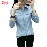 New 2017 Spring Summer Fashion Ladies Casual Slim Blue And Light Blue Denim Women Shirts Long