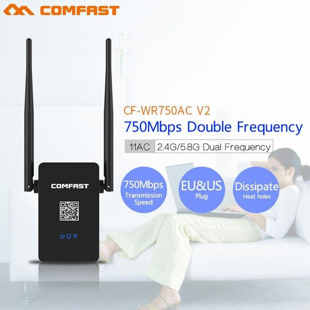 Comfast 802.11AC Двухдиапазонный 750 Мбит Wi-Fi Ретранслятор Roteador Беспроводной Маршрутизатор 2.4 + 5.8 Ггц CF-WR750 ACv2 Wi-fi Signa расширить Усилитель