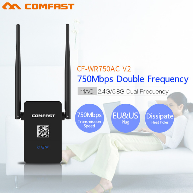 Comfast Dual Band 750 Mbps Wi-fi Repetidor 802.11AC Roteador Wi fi Roteador Sem Fio 2.4 + 5.8 GHz CF-WR750 ACv2 Signa estender Amplificador