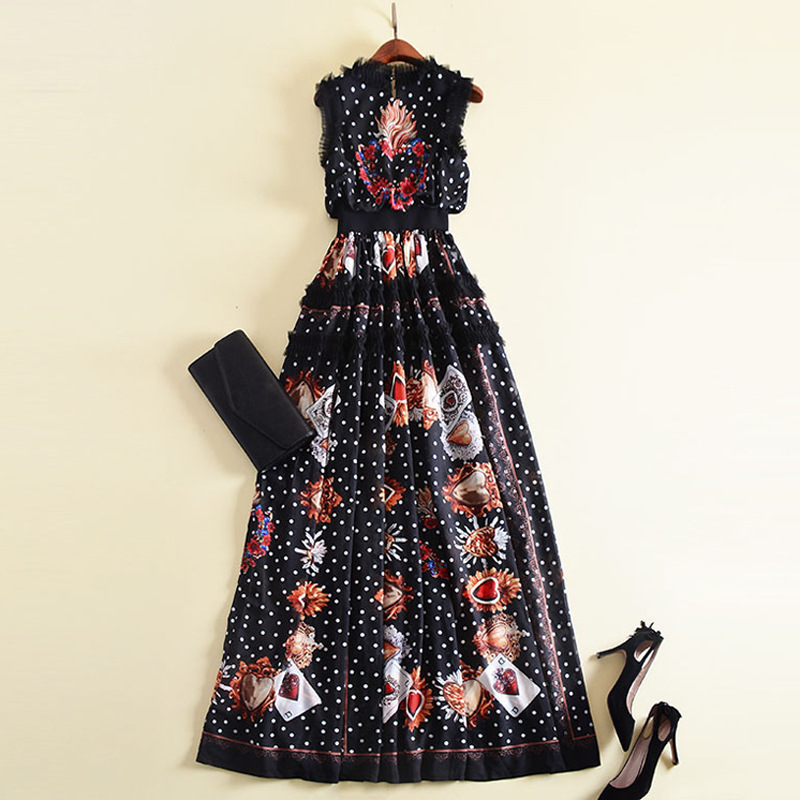Italy style flower embroidery sleeveless card dress 2018 summer runway women party dress D426 in Dresses from Women 39 s Clothing
