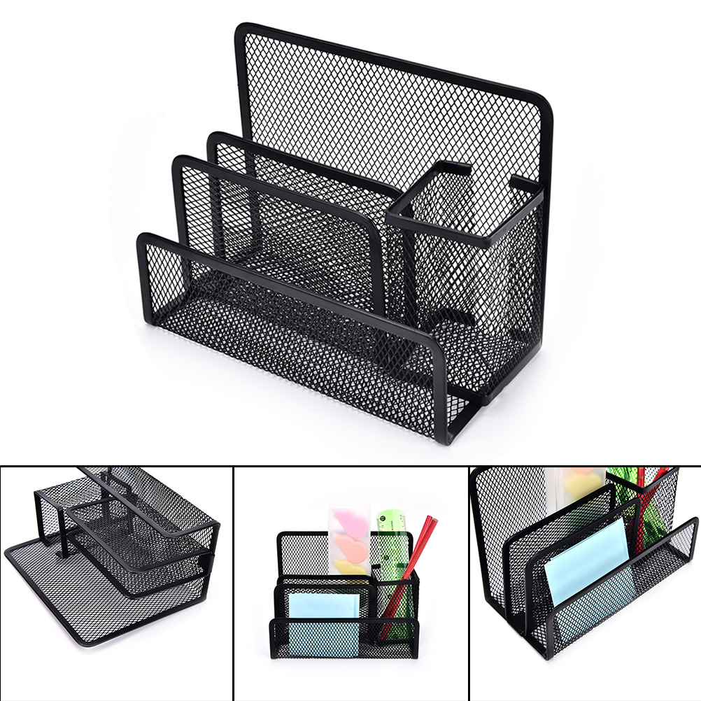 Multi-functional Pen Holder Stationery File Paper Organiser Storage Collection School Office Supplies Metal Mesh Desk Organizer