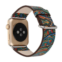 Vintage Folk Style Colorful Painting Watch Band Strap For Apple Watch Leather Bracelet With Connector National