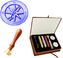 Vintage Cross Compass Wedding Invitation Custom Picture Logo Wax Seal Sealing Stamp Sticks Spoon Gift Box Set Kit