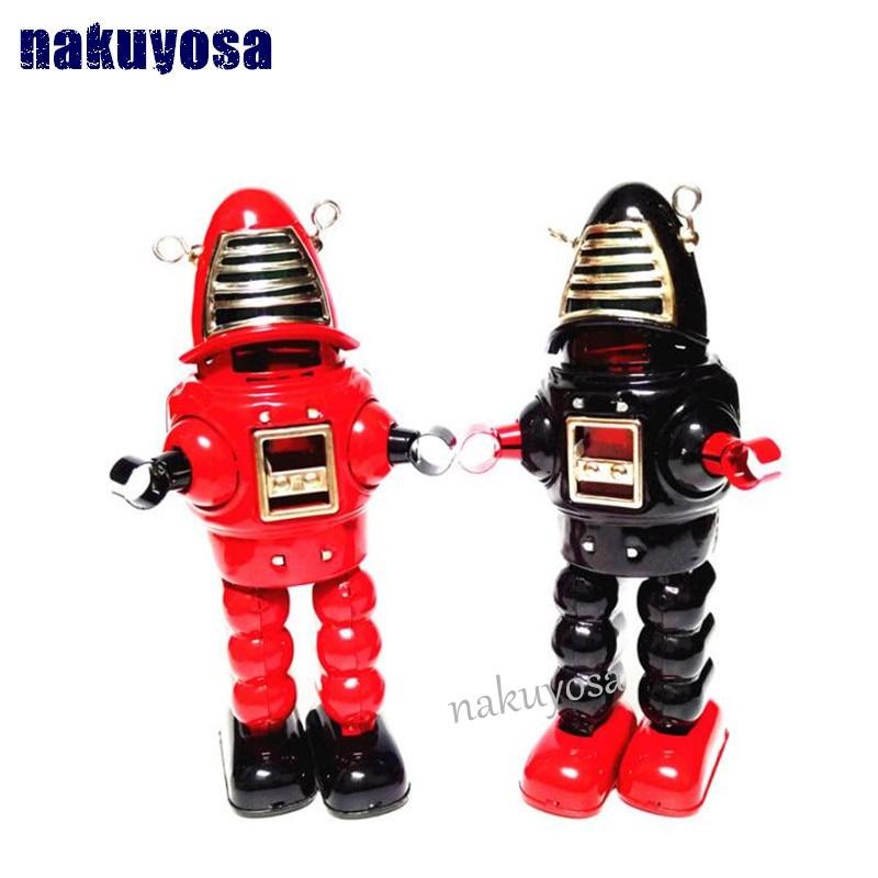 все цены на Red/Black Retro Robot Tinplate Clockwork Toy Vintage Tin Wind Up Toys For Children Vintage Handmade Crafts