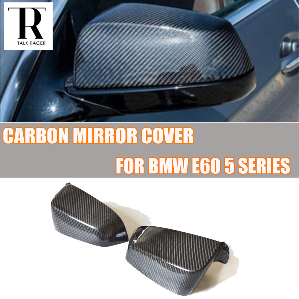 E60 Carbon Fiber Front Side Mirror Cover Cap Trim for BMW E60 5 Series 520i 523i 530i 535i 520d 525d 530d 535d 2004 - 2009 carbon fiber front fog light cover for bmw e46