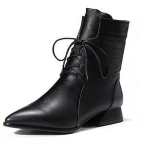 Image 5 - Swyivy 女性のブーツ 2019 新秋ミッドカーフブーツ女性のポインテッドトゥの靴マーチンブーツブロックヒール靴女性黒/茶色のブーツ