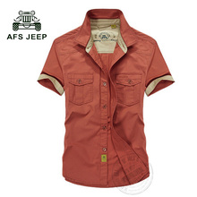 AFS Jeep Mens shirts 2017 Short sleeve Top quality 100 cotton Plus Size Loose men