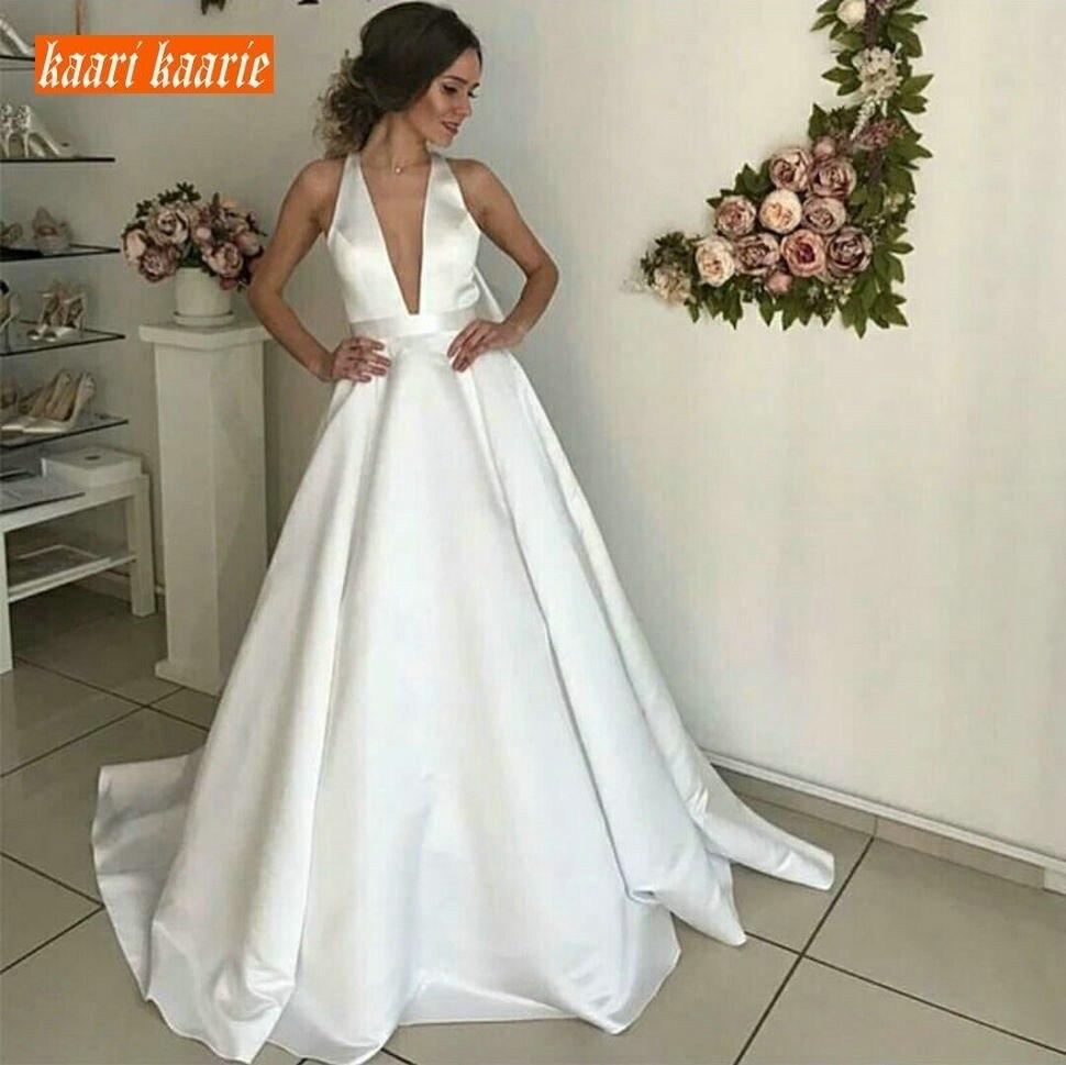 Simple Customized White Satin Backless Long Wedding Dress Princess Deep V Neck Wedding Gowns Sleeveless Sweep Train Bride Dress
