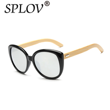 SPLOV 2017 Cat Eye Wood Sunglasses Women Wooden Sun Glasses Fashion Frog Mirror Vintage Oculos Sol Classic Sunlgasses Men UV400