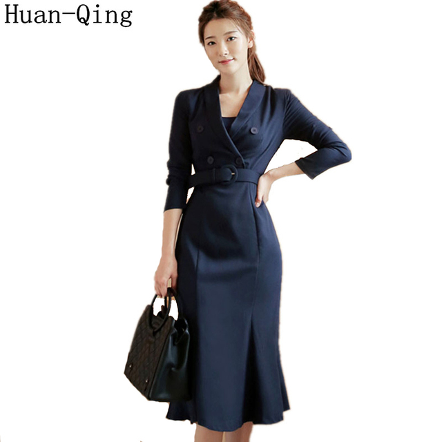 New Office Lady Suit Collar Package Hip Mermaid Dress Autumn Korean Women Double-breasted Belt Tunic Elegant Party Long Dresses