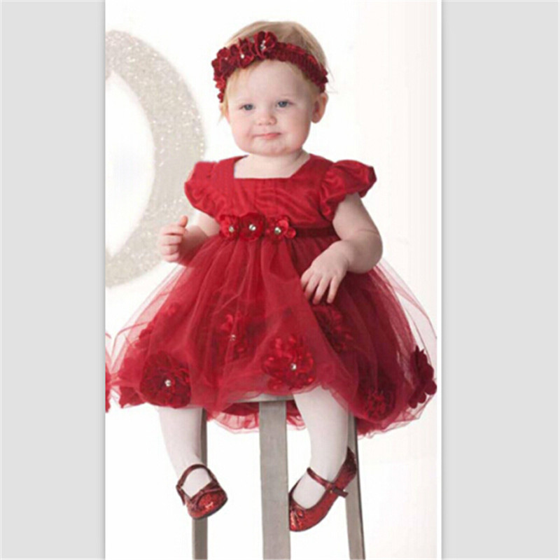 Fashion red flower ornament Baby Girls Dresses Sleeve