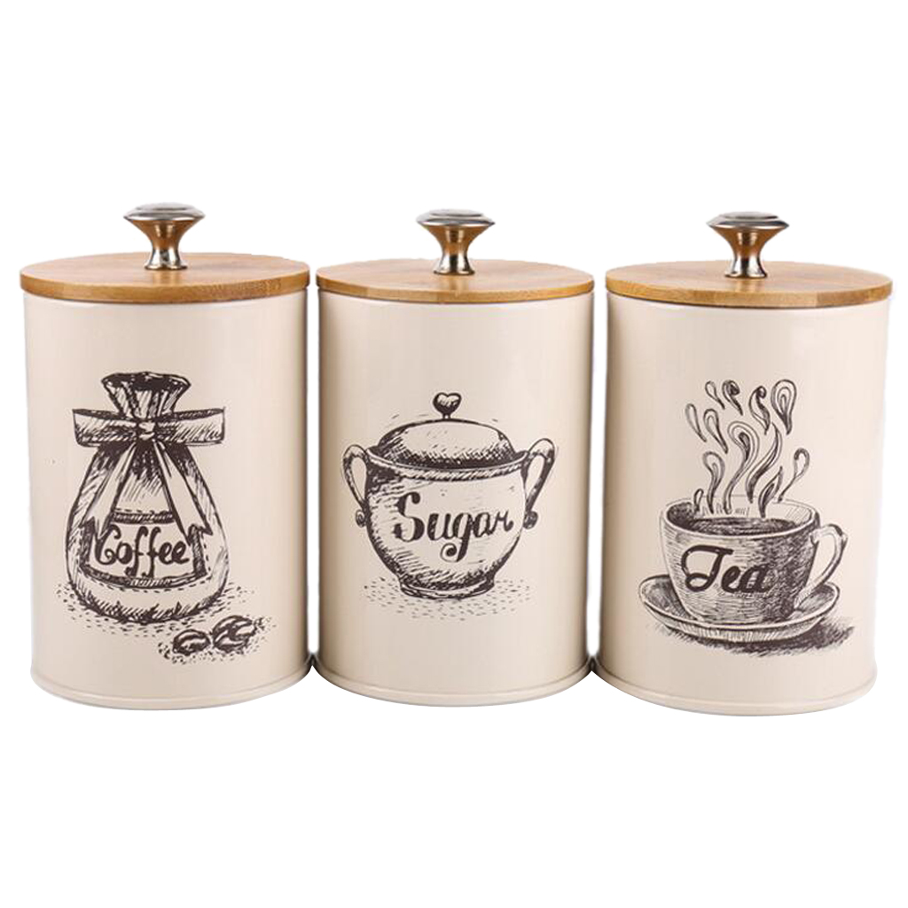 3 Pieces Metal Canisters Set Dry Food Storage Container for kitchen Counter, Tea Sugar Coffee Canister-in Storage Bottles & Jars from Home & Garden