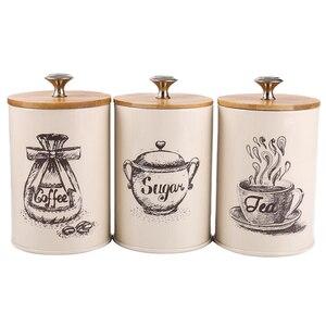Image 1 - 3 ชิ้นถังโลหะชุดกล่องเก็บอาหารแห้งสำหรับเคาน์เตอร์ครัว,ชากาแฟน้ำตาลกระป๋อง