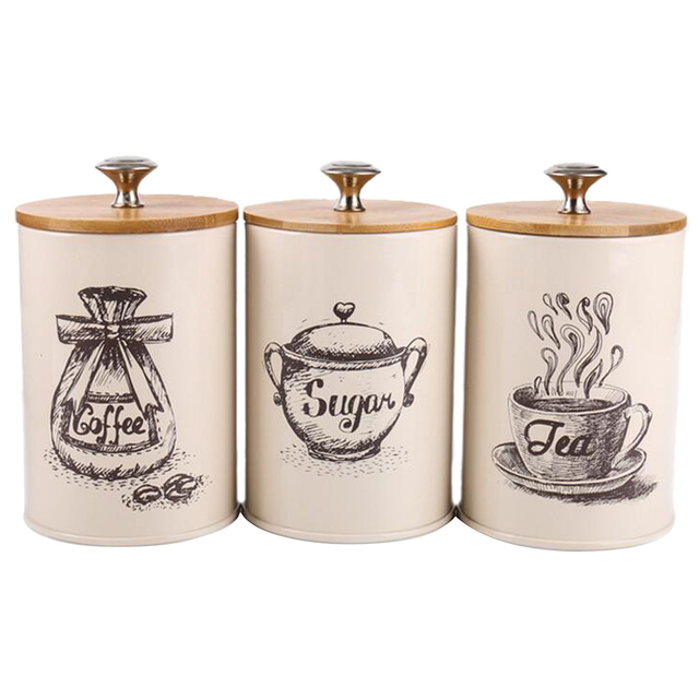 3 ชิ้นถังโลหะชุดกล่องเก็บอาหารแห้งสำหรับเคาน์เตอร์ครัว,ชากาแฟน้ำตาลกระป๋อง